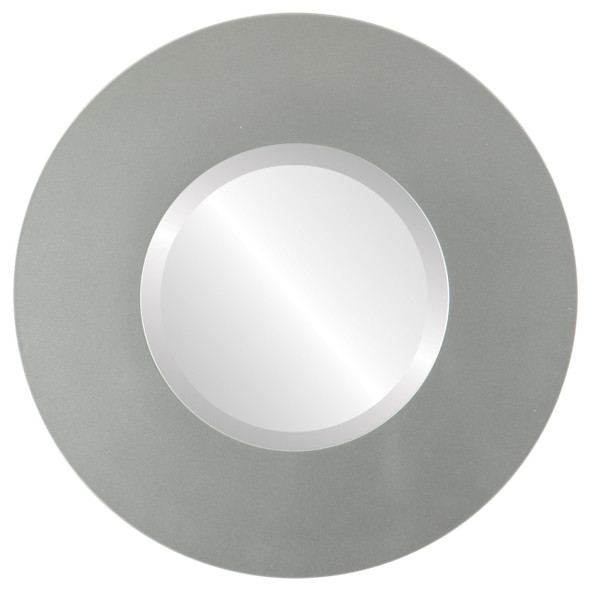 Beveled Mirror - Tribeca Round Frame - Bright Silver