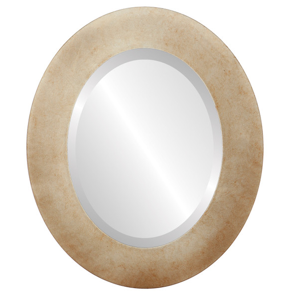 Beveled Mirror - Ashland Oval Frame - Burnished Silver