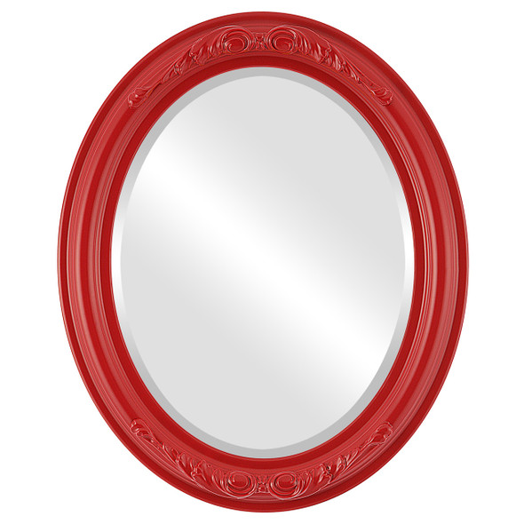 Beveled Mirror - Florence Oval Frame - Holiday Red