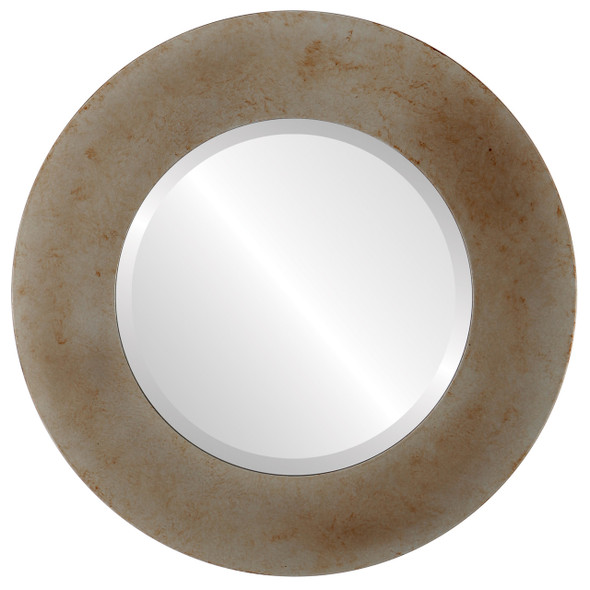 Beveled Mirror - Ashland Round Frame - Burnished Silver