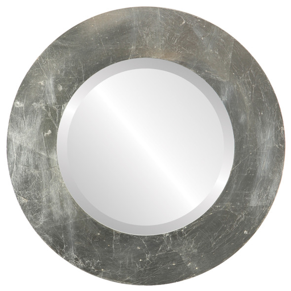 Beveled Mirror - Ashland Round Frame - Silver Leaf with Brown Antique