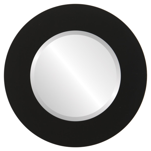 Beveled Mirror - Ashland Round Frame - Matte Black