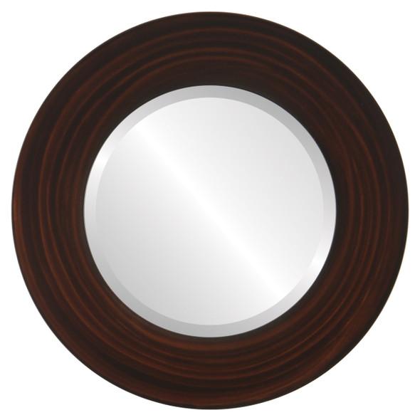 Beveled Mirror - Ashland Round Frame - Mocha