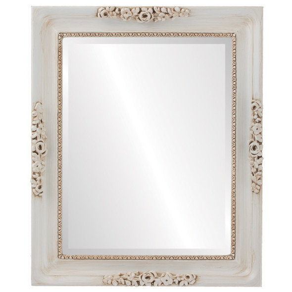 Beveled Mirror - Versailles Rectangle Frame - Antique White