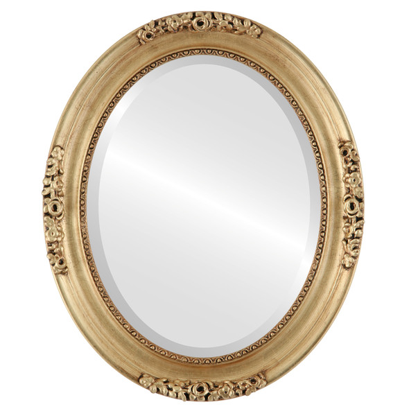 Beveled Mirror - Versailles Oval Frame - Antique Gold Leaf