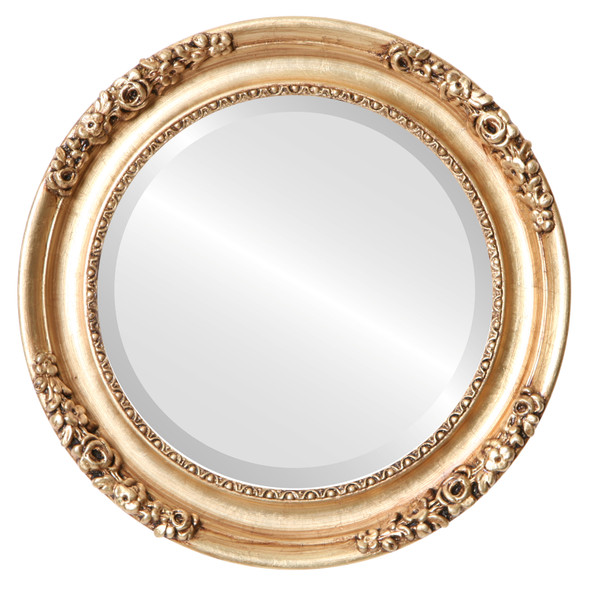 Beveled Mirror - Versailles Round Frame - Antique Gold Leaf