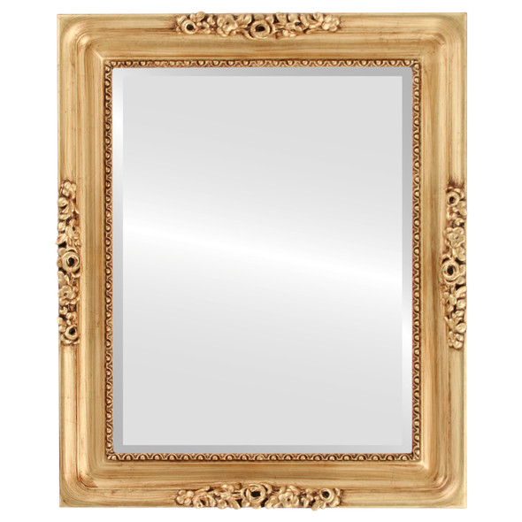 Beveled Mirror - Versailles Rectangle Frame - Antique Gold Leaf