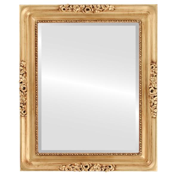 Beveled Mirror - Versailles Rectangle Frame - Antique Gold Leaf