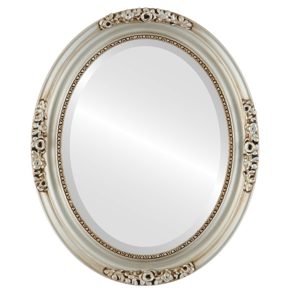 Beveled Mirror - Versailles Oval Frame - Silver