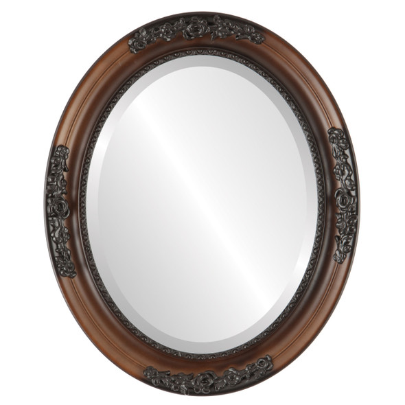 Beveled Mirror - Versailles Oval Frame - Walnut