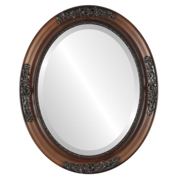 Beveled Mirror - Versailles Oval Frame - Walnut