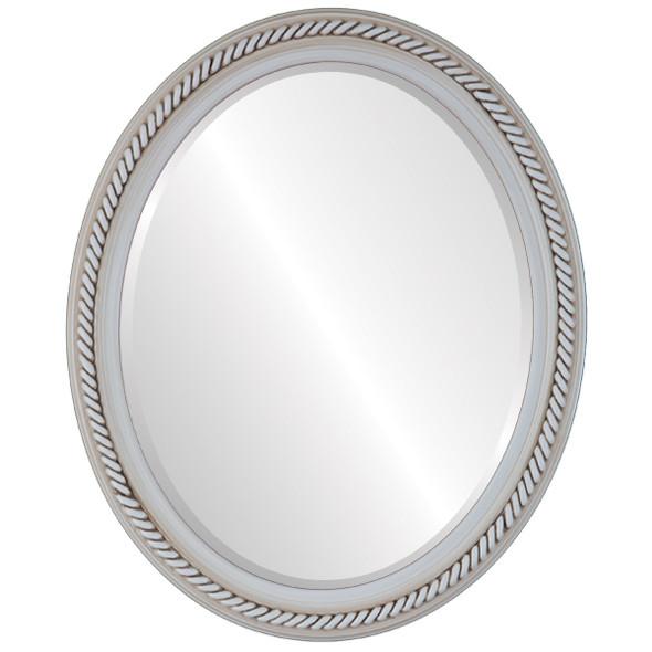 Beveled Mirror - Santa Fe Oval Frame - Antique White