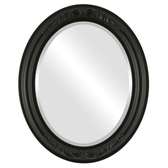 Beveled Mirror - Florence Oval Frame - Matte Black