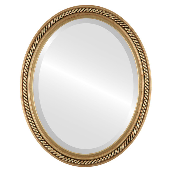 Beveled Mirror - Santa Fe Oval Frame - Antique Gold Leaf
