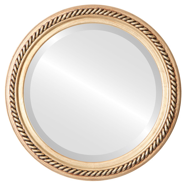 Beveled Mirror - Santa Fe Round Frame - Antique Gold Leaf