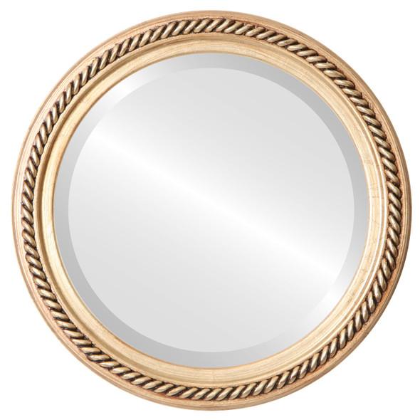Beveled Mirror - Santa Fe Round Frame - Gold Leaf