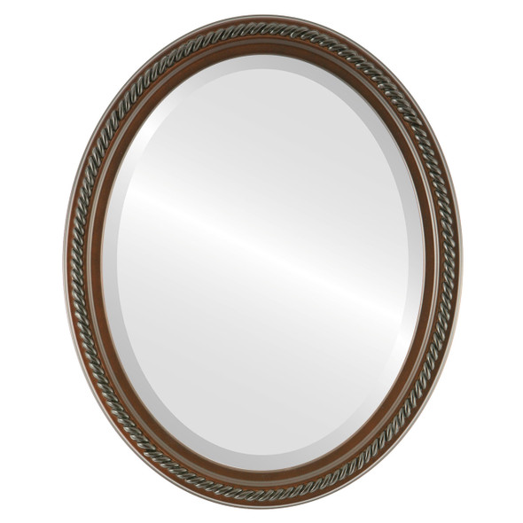 Beveled Mirror - Santa Fe Oval Frame - Rosewood