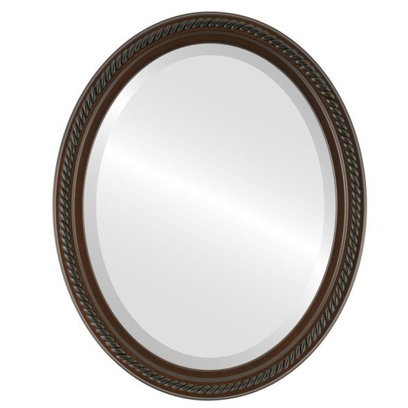 Beveled Mirror - Santa Fe Oval Frame - Walnut