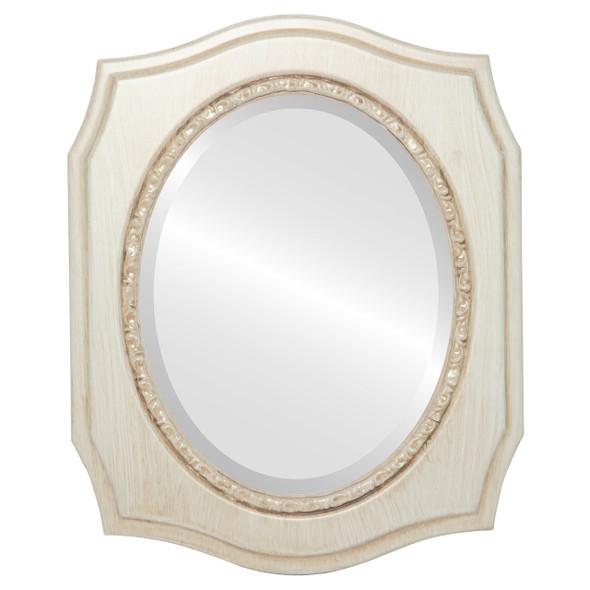 Beveled Mirror - San Francisco Oval Frame - Antique White