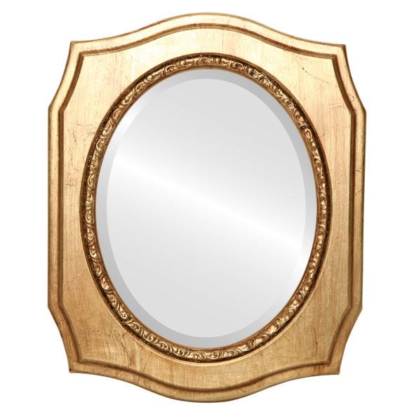 Beveled Mirror - San Francisco Oval Frame - Antique Gold Leaf