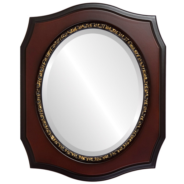 Beveled Mirror - San Francisco Oval Frame - Rosewood