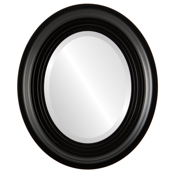Beveled Mirror - Imperial Oval Frame - Matte Black