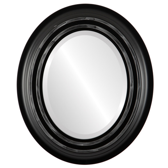 Beveled Mirror - Imperial Oval Frame - Matte Black with Silver Lip