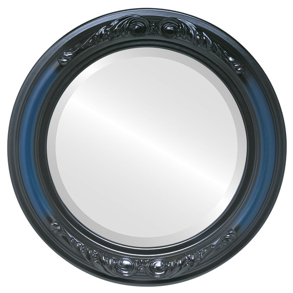Beveled Mirror - Florence Round Frame - Royal Blue