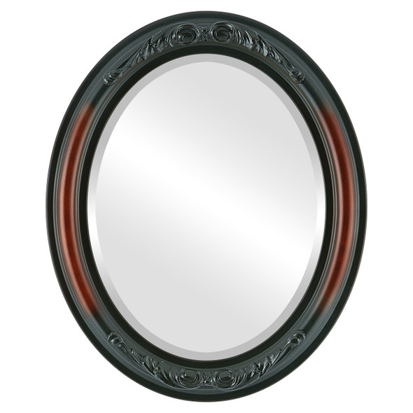 Beveled Mirror - Florence Oval Frame - Rosewood