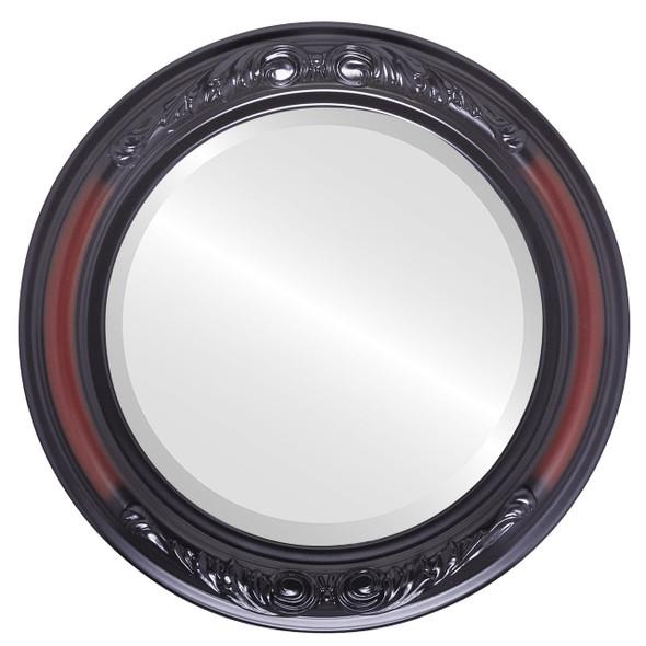 Beveled Mirror - Florence Round Frame - Rosewood
