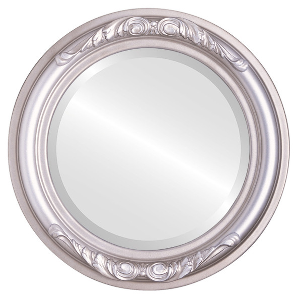 Beveled Mirror - Florence Round Frame - Silver Shade