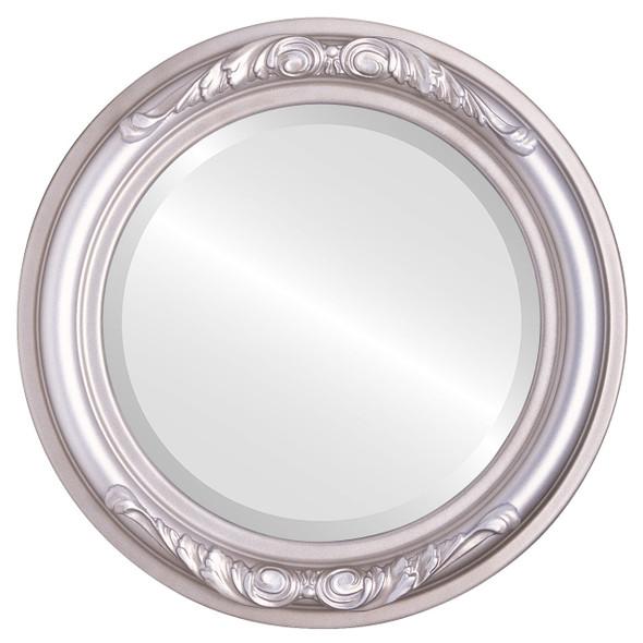 Beveled Mirror - Florence Round Frame - Silver Shade