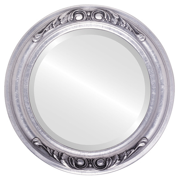 Beveled Mirror - Florence Round Frame - Silver Leaf with Black Antique