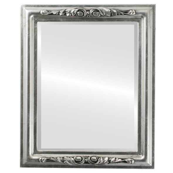 Beveled Mirror - Florence Rectangle Frame - Silver Leaf with Black Antique