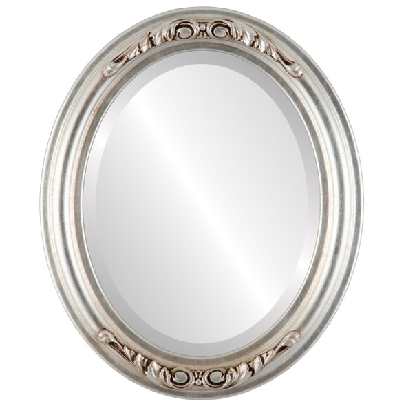 Beveled Mirror - Florence Oval Frame - Silver Leaf with Brown Antique