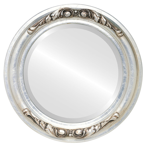 Beveled Mirror - Florence Round Frame - Silver Leaf with Brown Antique