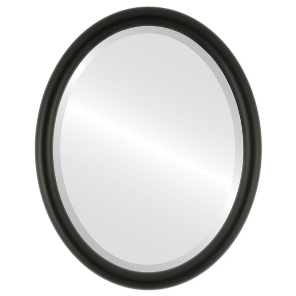 Bevelled Mirror - Pasadena Oval Frame - Matte Black