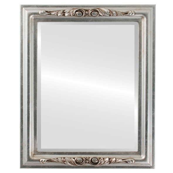 Beveled Mirror - Florence Rectangle Frame - Silver Leaf with Brown Antique