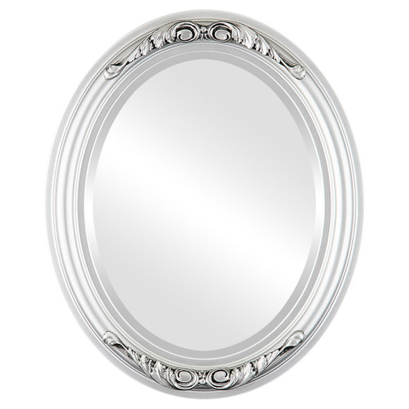 Beveled Mirror - Florence Oval Frame - Silver Spray