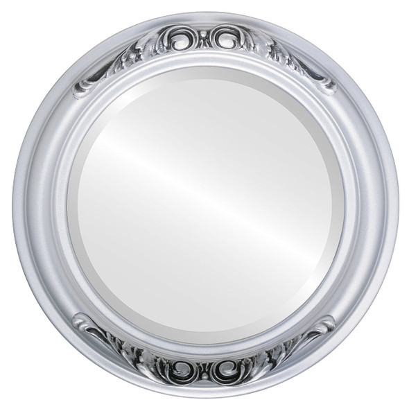 Beveled Mirror - Florence Round Frame - Silver Spray