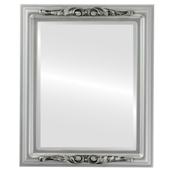 Beveled Mirror - Florence Rectangle Frame - Silver Spray