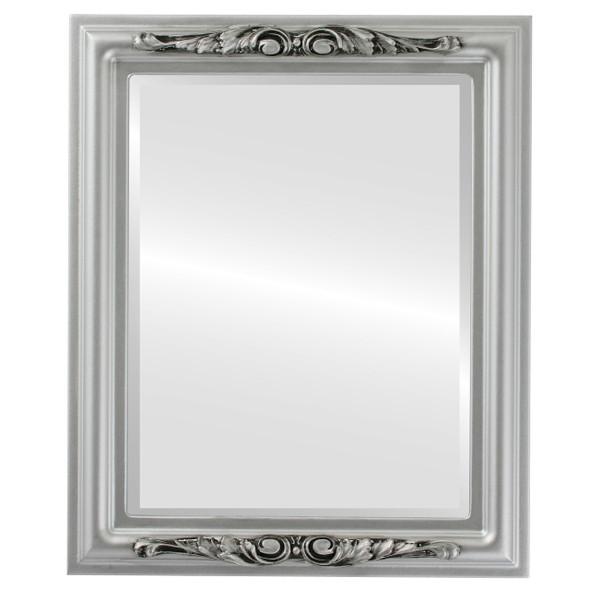 Beveled Mirror - Florence Rectangle Frame - Silver Spray