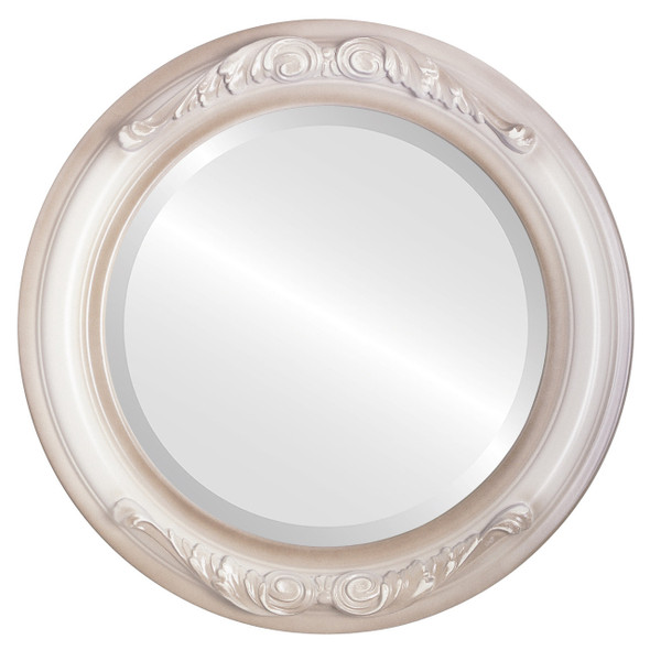 Beveled Mirror - Florence Round Frame - Taupe
