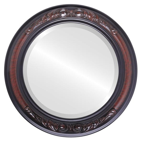Beveled Mirror - Florence Round Frame - Vintage Cherry