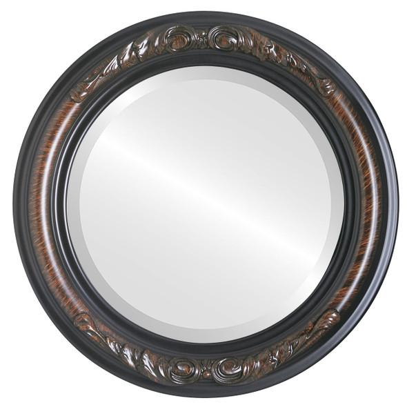 Beveled Mirror - Florence Round Frame - Vintage Walnut