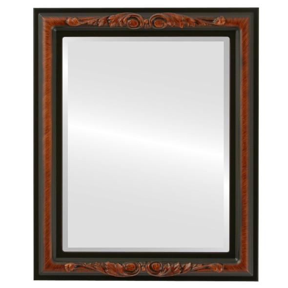 Beveled Mirror - Florence Rectangle Frame - Vintage Walnut