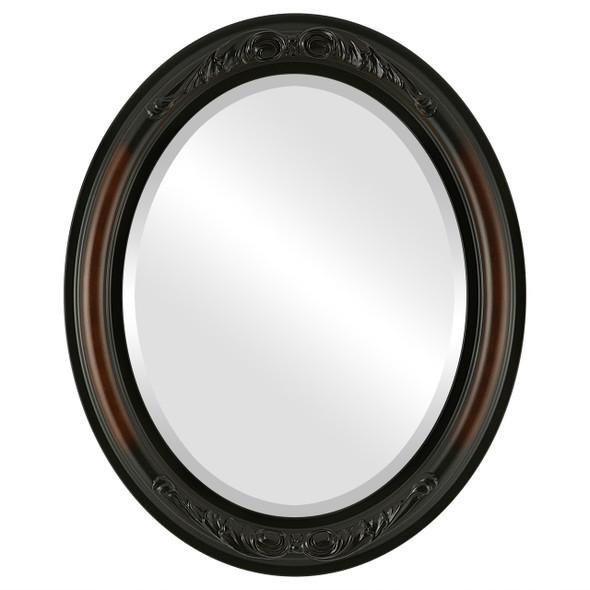 Beveled Mirror - Florence Oval Frame - Walnut