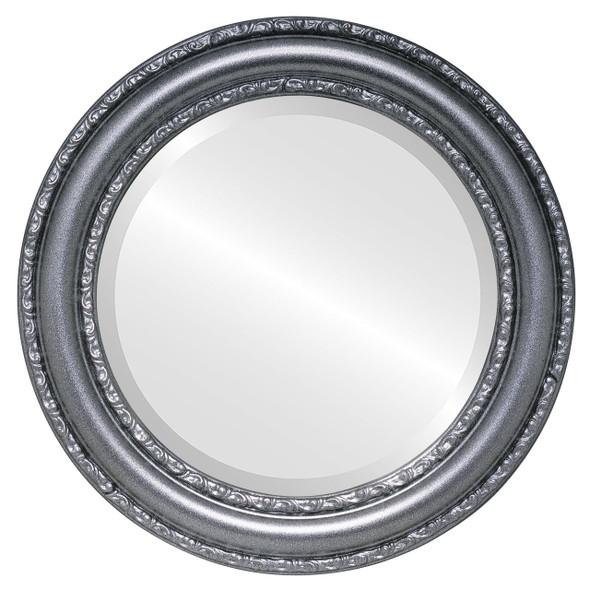 Beveled Mirror - Dorset Round Frame - Black Silver