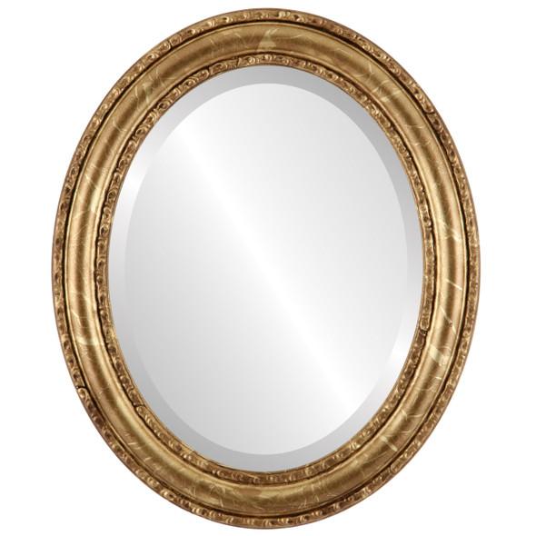 Beveled Mirror - Dorset Oval Frame - Champagne Gold