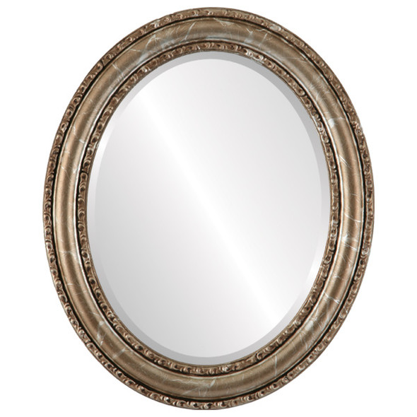 Beveled Mirror - Dorset Oval Frame - Champagne Silver